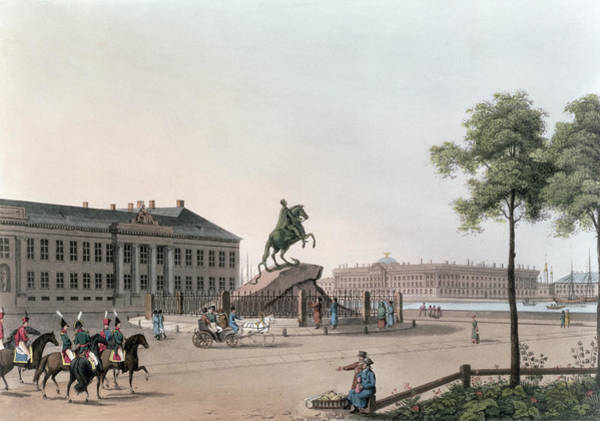 Equestrian Drawing - View Of The Place Of Peter The Great by Mornay