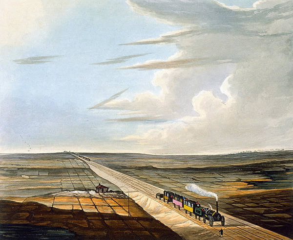Line Drawing - View Of The Railway Across Chat Moss by Thomas Talbot Bury