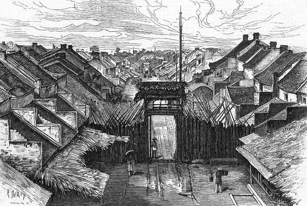 Vietnam Drawing - View Of The Rue Dupuis And Gateway by Mary Evans Picture Library