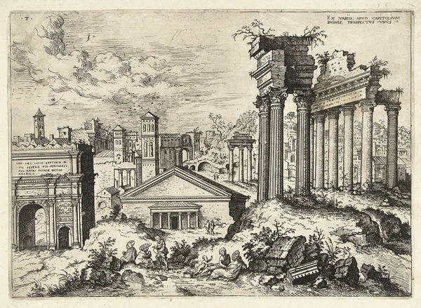 Capitol Drawing - View Of The Ruins Of The Roman Forum Seen From The Capitol by Artokoloro