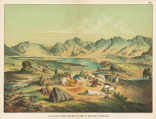Nomad Drawing - View Of The Salt Lake Of Kiuk Kiol by Mary Evans Picture Library