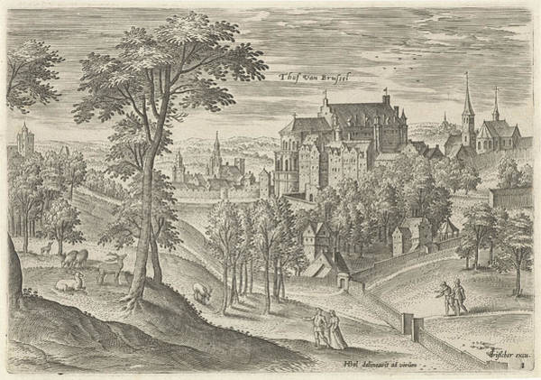 Homestead Drawing - View Of The Slot Hof Of Brussels, Belgium by Hans Collaert I And Claes Jansz. Visscher Ii