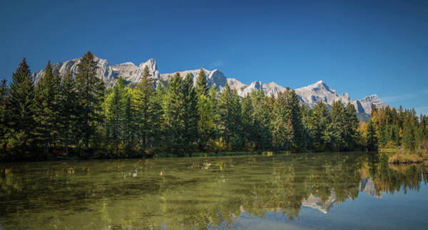 Canmore Photograph - View Of The Spring Creek Pond, Mount by Panoramic Images