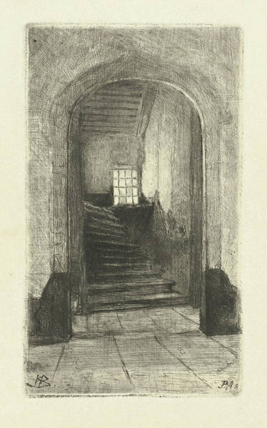 Wall Art - Drawing - View Of The Staircase In The Prinsenhof Delft by Petrus Johannes Arendzen
