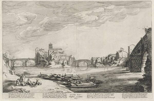 Tiber Island Wall Art - Drawing - View Of The Tiber With Roman Bridges, Jan Van De Velde II by Jan Van De Velde (ii) And Claes Jansz. Visscher (ii)