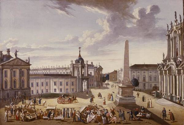 Market Square Photograph - View Of The Town Hall, 1772 Oil On Canvas See Also 330437 by Carl Christian Baron