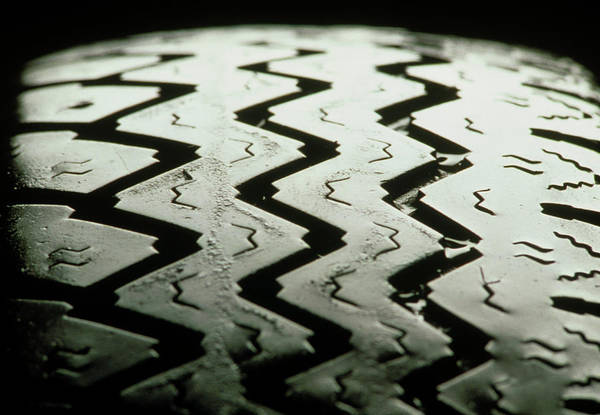 Tyre Wall Art - Photograph - View Of The Tread Pattern Of A Motor Vehicle Tyre by Ton Kinsbergen/science Photo Library