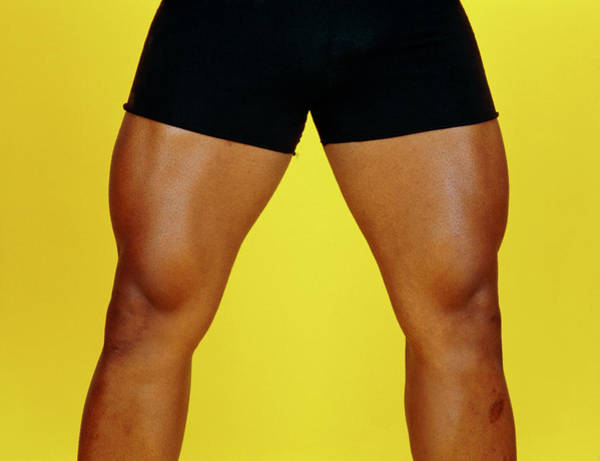 View Of The Well-muscled Legs Of Male Bodybuilder Art Print