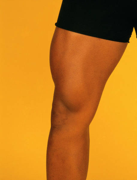 View Of The Well-muscled Thigh Of Male Bodybuilder Art Print