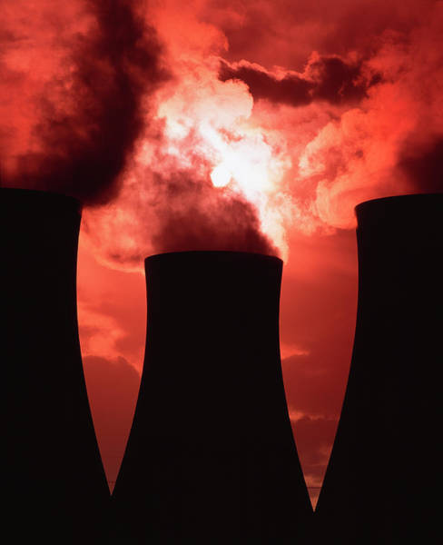 Cooling Tower Photograph - View Of Three Silhouetted Cooling Towers by Martin Bond/science Photo Library