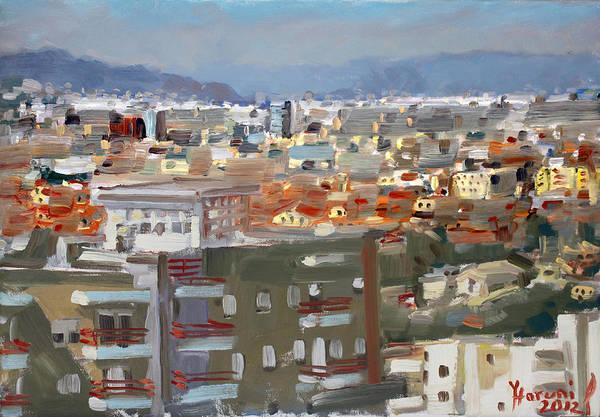 Wall Art - Painting - View Of Tirana From Dajti Mountain by Ylli Haruni