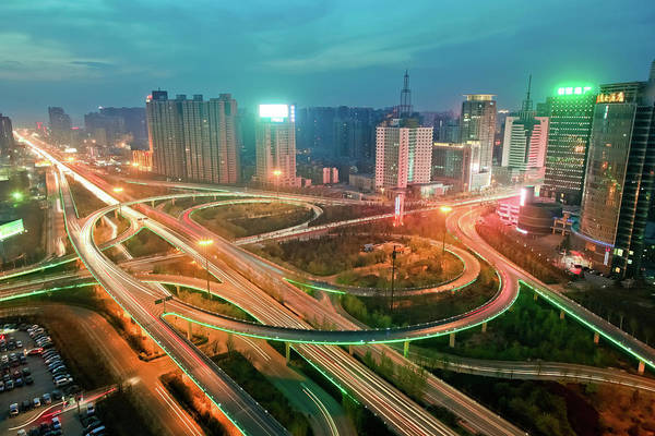 Xi Photograph - View Of Traffic On Overpass At Night by Pan Hong