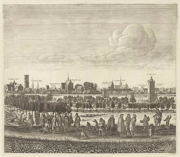 Wall Art - Drawing - View Of Utrecht From The West Plate IIi by Herman Saftleven And Reinier & Josua Ottens