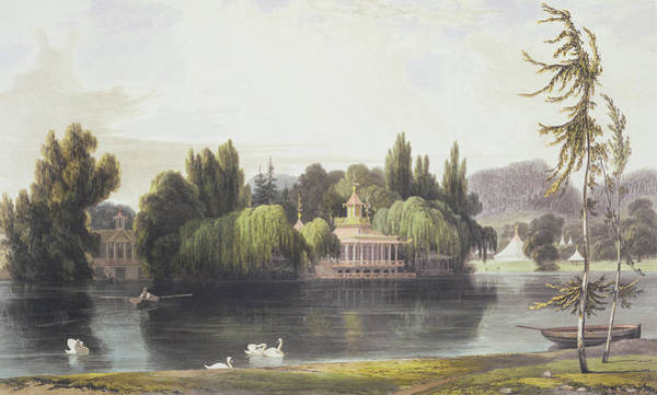 Rowing Wall Art - Drawing - View Of Virginia Water With Garden by William Daniell