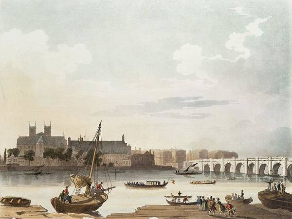 Rowing Wall Art - Photograph - View Of Westminster And The Bridge Wc On Paper by English School