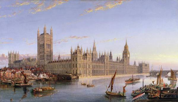 Houses Of Parliament Wall Art - Painting - View Of Westminster From Lambeth, 1859 by John MacVicar Anderson