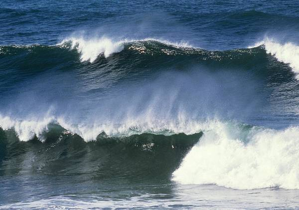 Near Photograph - View Of Wind Blown Waves (combers) Breaking by William Ervin/science Photo Library