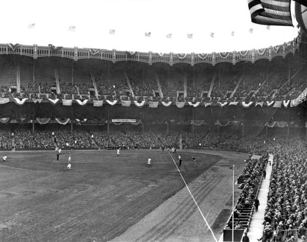 Playing Field Photograph - View Of Yankee Stadium by Underwood Archives
