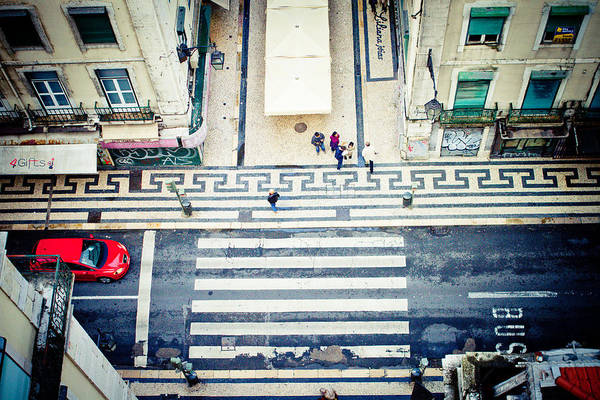 Photograph - view on street from roof Lisbon city by Raimond Klavins