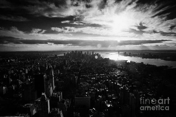 Reaching For The Sky Photograph - View Over Lower Manhattan At Sunset New York City Usa by Joe Fox