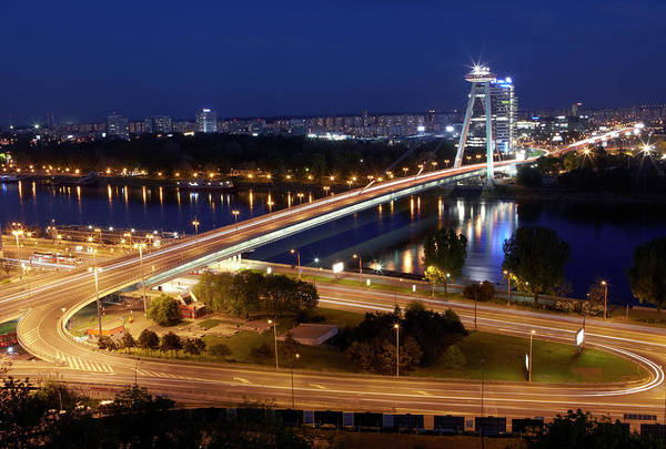 Bratislava Photograph - View Over Novy Most Bridge At Night by Allan Baxter