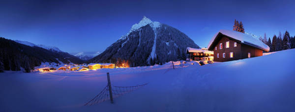 Ski Resort Photograph - View To Gargellen At Night, Montafon by Jan Greune / Look-foto