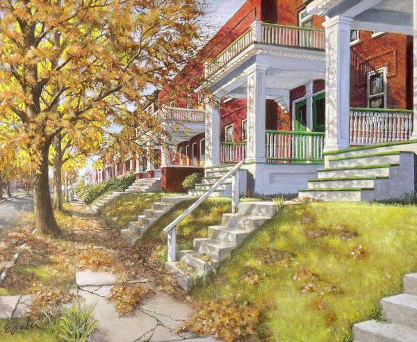Porch Painting - View Up The Block by Edward Farber