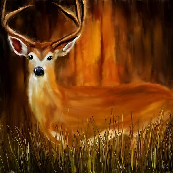Cabin In The Woods Wall Art - Painting - Vigilant by Lourry Legarde