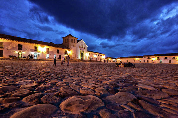 Colombia Photograph - Villa De Leyva Plaza At Dusk by The Colombian Way Ltda
