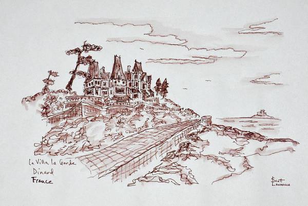 Ink Sketch Photograph - Villa La Grande, Saint-enogat, Dinard by Richard Lawrence
