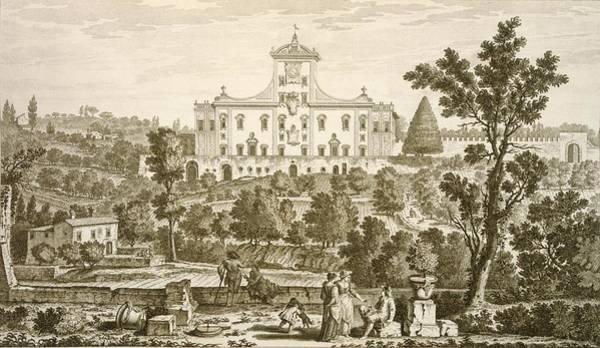 Baroque Drawing - Villa Ricci At Pozzolatico by Giuseppe Zocchi