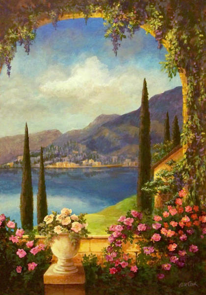 Mountain Lake Painting - Villa Rosa by Evie Cook