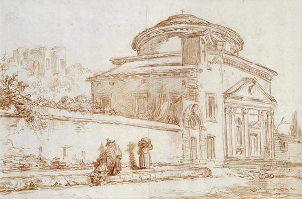 Renaissance Photograph - Villa Sacchetti, Rome Red Chalk On Paper by Hubert Robert