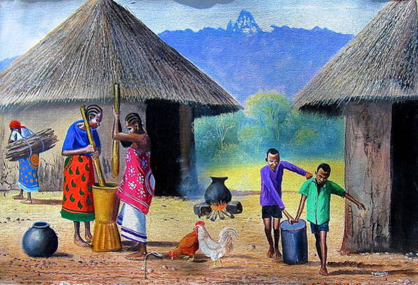 Painting - Village Chores by Jane Wanjeri