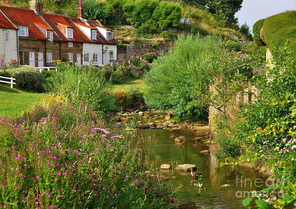 Photograph - Village Cottages And Stream - Yorkshire by Martyn Arnold