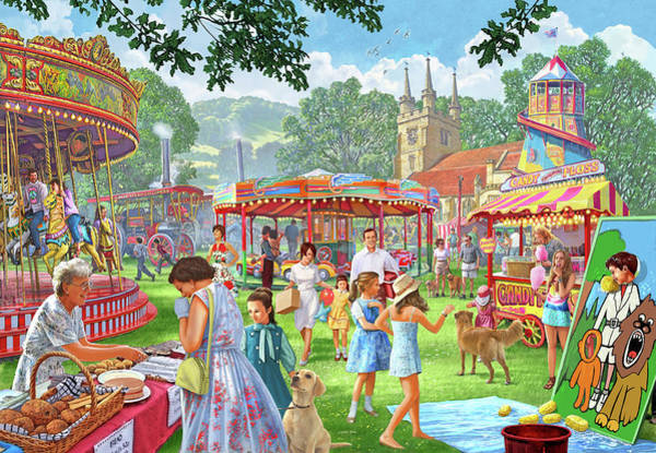 Cakes Painting - Village Fete 1960's Version Two by MGL Meiklejohn Graphics Licensing