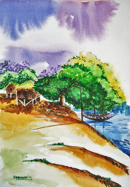 Bangladesh Painting - Village Landscape Of Bangladesh 3 by Shakhenabat Kasana