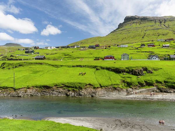 Archipelago Photograph - Village Leynar Denmark, Faroe Islands by Martin Zwick