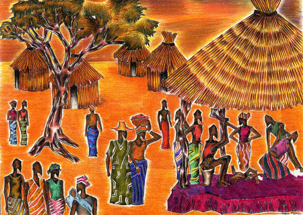 Bore Hole Wall Art - Drawing - Village Life  by Hiten Mistry