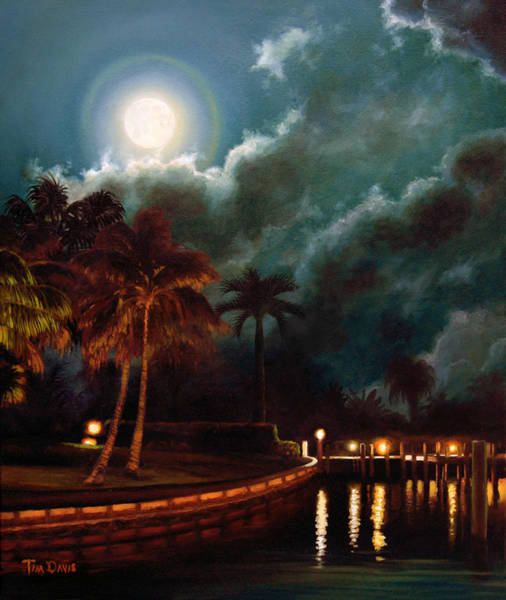 Full Moon Painting - Village Moon by Tim Davis