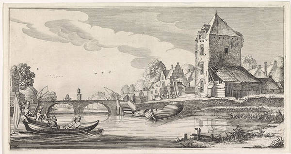 Wall Art - Drawing - Village On A River, Jan Van De Velde II by Jan Van De Velde (ii)