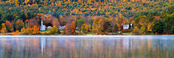 Village On Crystal Lake Autumn  Art Print