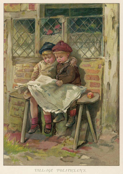 Wall Art - Drawing - 'village Politicians' Two Children Sit by Mary Evans Picture Library