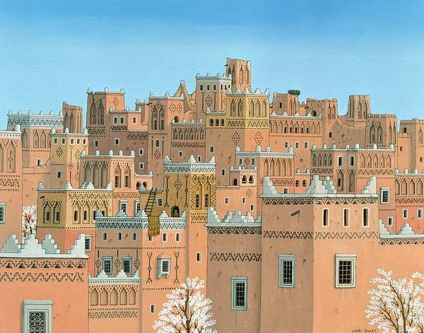 Townscape Wall Art - Photograph - Village, Southern Morocco, 1998 Acrylic On Linen by Larry Smart