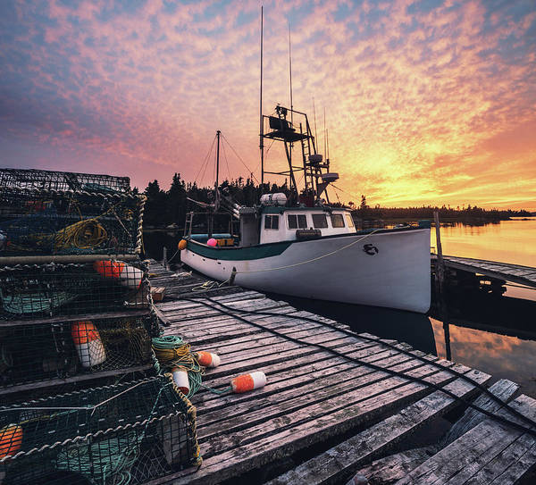 Trapped Photograph - Village Wharf In Sunset by Shaunl