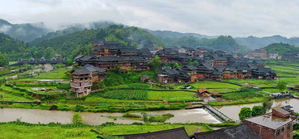 Wall Art - Photograph - Village With Farmland In Morning Mist by Keren Su
