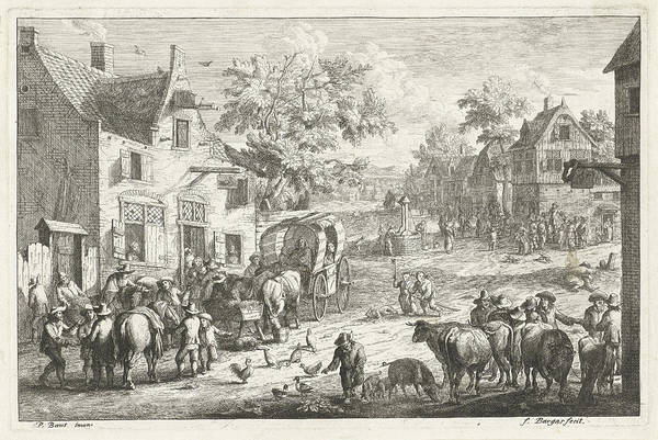 Wall Art - Drawing - Village With Travelers And Cattle Traders At Inn by A.f. Bargas