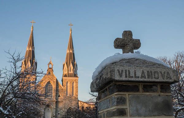 Brick Gothic Photograph - Villanova Wall And Chapel by Photographic Arts And Design Studio