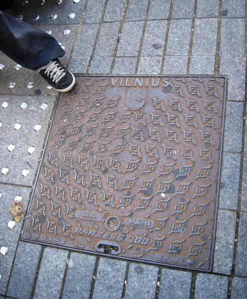 Photograph - Vilnius Lithuania Manhole Cover by Mary Lee Dereske