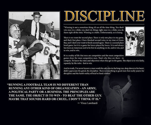 Wall Art - Photograph - Vince Lombardi Discipline by Retro Images Archive